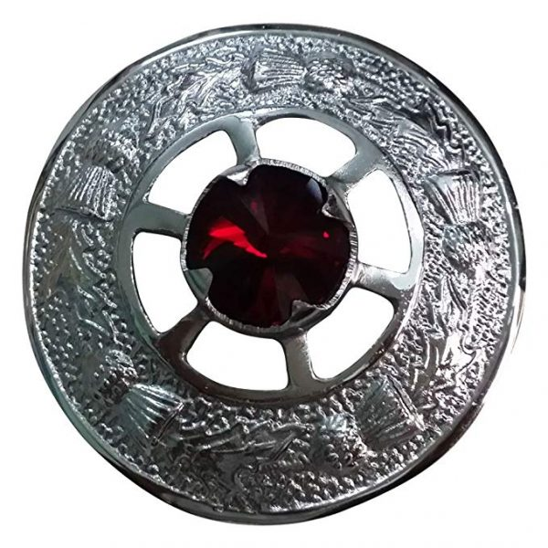 AAR Scottish Ladies Shawl Fly plaid Brooch Red Stone Kilt 2 (5cm) Chrome Finish