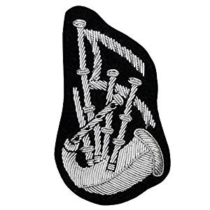 PIPE MAJOR BAGPIPE ARM BADGE HAND EMBROIDERED SILVER BULLION WIRE